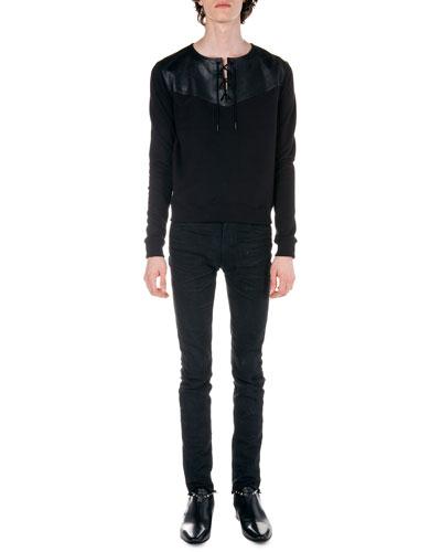 Lace-Up Sweatshirt & Frayed Hem Skinny Jeans