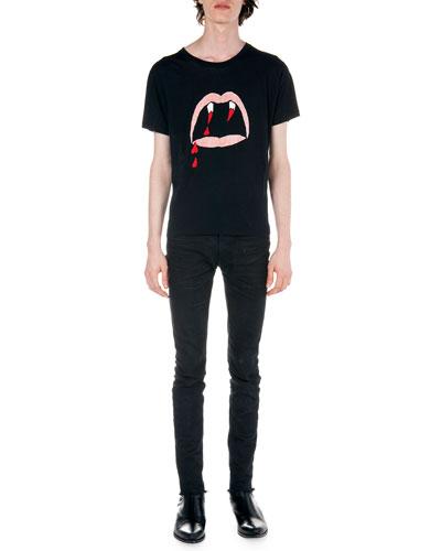 Fang-Print Tee & Frayed Hem Skinny Jeans
