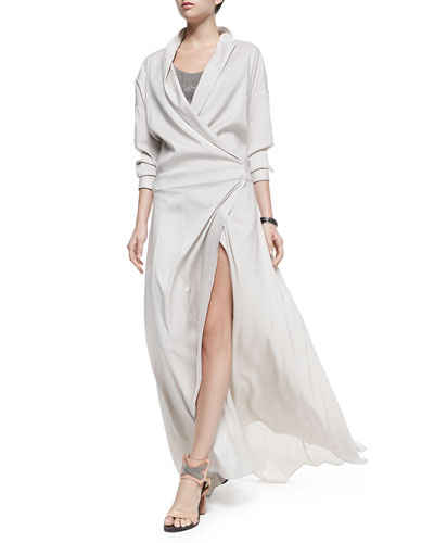 Brunello Cucinelli Long-Sleeve Silk Dress & Monili Metallic Bra Top