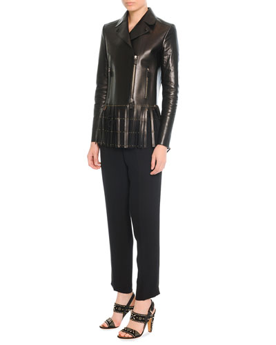 Leather Jacket with Fringe & Silk Jogging Pants with Drawstring