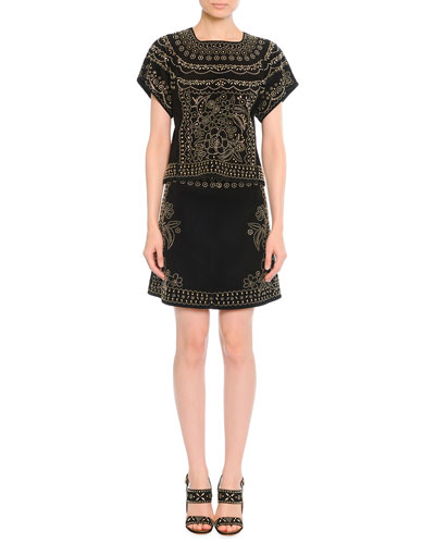Valentino	 Metal Beaded Suede Top & Skirt