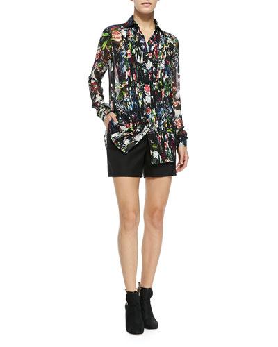 Long-Sleeve Pleat-Front Blouse & Wool Tuxedo Shorts
