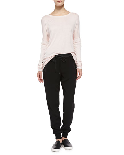Boat-Neck Tee W/ Mesh Inset Sleeves & Pull-On Drawstring Jogging Pants