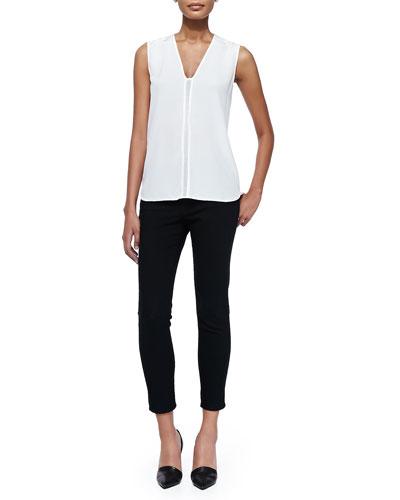 Sleeveless Shell W/ Mesh Insert & Mason Slim Cropped Jeans
