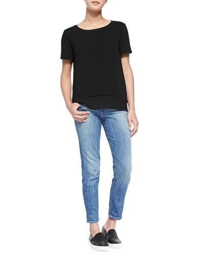 Layered-Hem Tee & Mason Slim Cropped Jeans