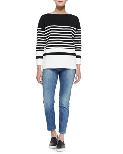 Nautical-Stripe Boat-Neck Top & Mason Slim Cropped Jeans,