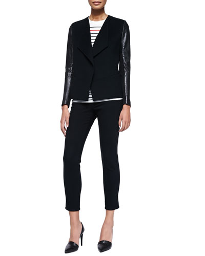 Leather-Sleeve Draped Wool Jacket, Breton-Stripe Boy Tee & Mason Slim Cropped Jeans