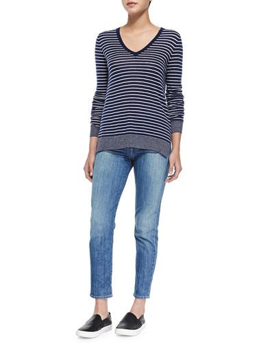 Contrast-Trim Striped Knit Tee & Mason Slim Cropped Jeans