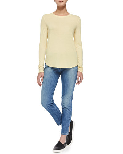 Crewneck Tee W/ Slouched Sleeves & Mason Slim Cropped Jeans