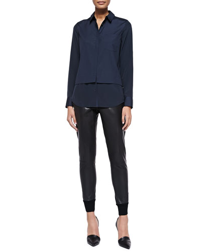 Vince Mixed-Media Layered Blouse & Knit-Cuff Leather Jogging Trousers