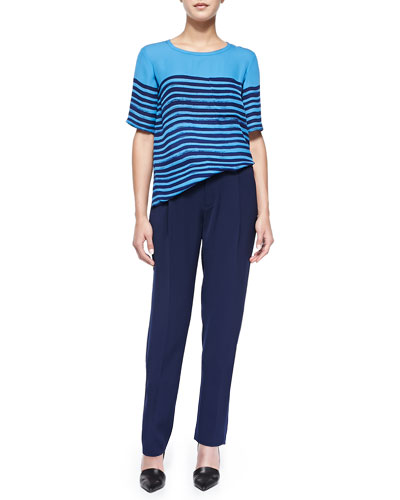 Vince Short-Sleeve Tee W/ Marker Stripes & Satin-Striped Tuxedo Trousers