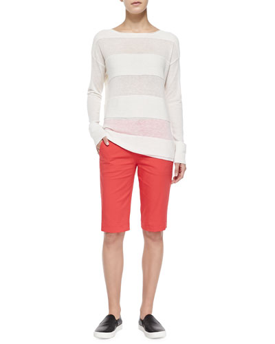 Vince Ottoman Sheer/Solid Striped Sweater & Twill Bermuda Shorts