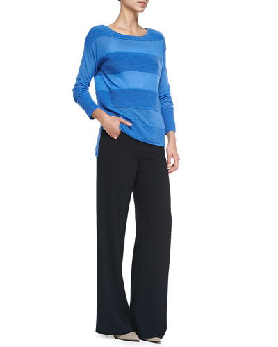 Vince Ottoman Sheer/Solid Striped Sweater & Sailor-Button Wide-Leg Pants