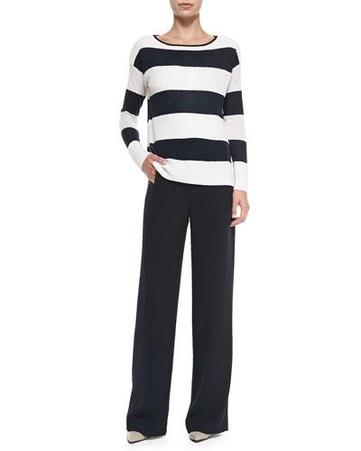 Vince Ottoman Wide-Stripe Knit Sweater & Sailor-Button Wide-Leg Pants