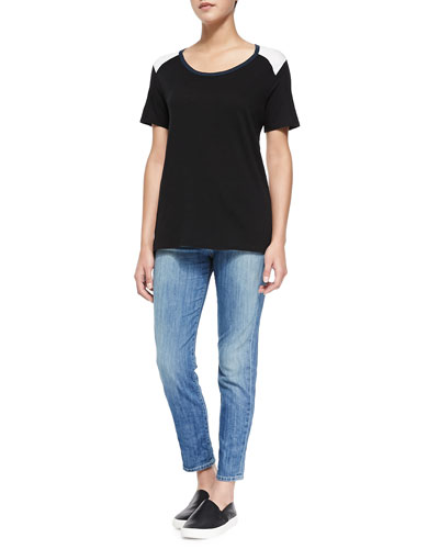 Tricolor Short-Sleeve Tee & Mason Slim Cropped Jeans