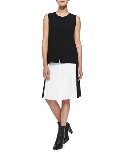 Vince Flyaway-Front Sleeveless Top & Pleated Georgette Colorblock Skirt