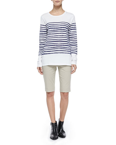 Vince Long-Sleeve Tee W/ Marker Stripes & Twill Bermuda Shorts