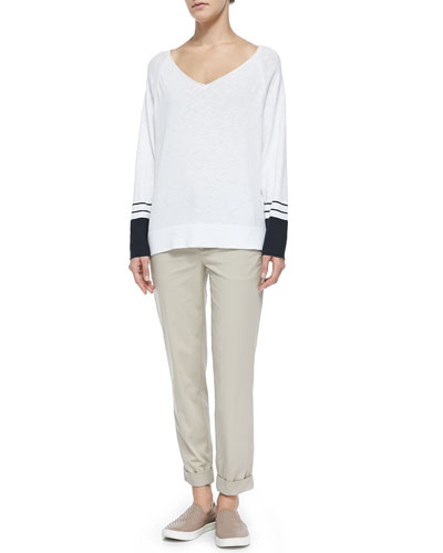 Vince V-Neck Tee W/ Striped Cuffs & Rolled-Cuff Boyfriend Trousers