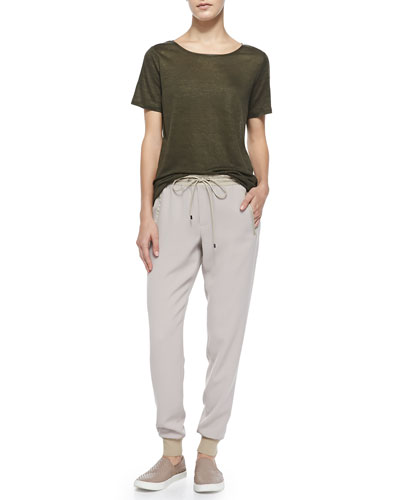 Vince Boat-Neck Tee W/ Piping & Pull-On Drawstring Jogging Pants