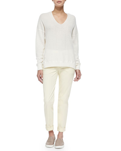 Vince Cashmere Ribbed V-Neck Sweater & Rolled-Cuff Boyfriend Trousers