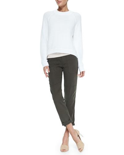Vince Engineered Rib-Knit Sweatshirt & Cropped Twill Cargo Pants