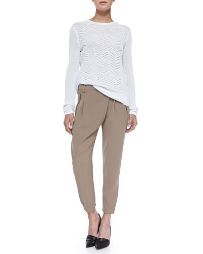 Crewneck Zigzag Mesh Sweater & Leather-Trim Wrap-Waist Pants