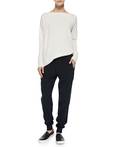 Vince Ottoman Ribbed-Cuff Knit Sweater & Pull-On Drawstring Jogger Pants
