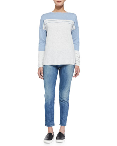 Vince Two-Tone Cotton Slub Top & Mason Slim Cropped Jeans