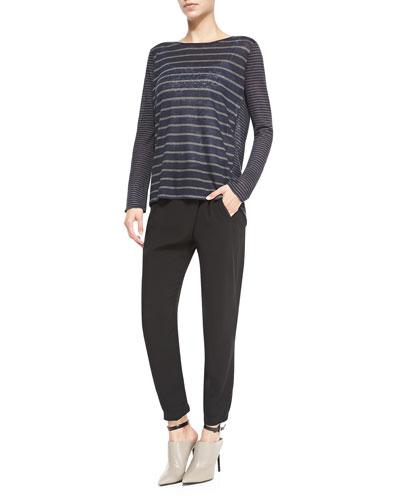 Vince Mixed-Stripe Linen Slub Top & Leather-Trim Wrap-Waist Pants