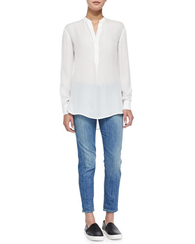 Vince Half-Placket Silk Tunic & Mason Slim Cropped Jeans