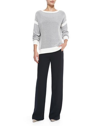 Vince Two-Tone Perforated Knit Sweater & Sailor-Button Wide-Leg Pants