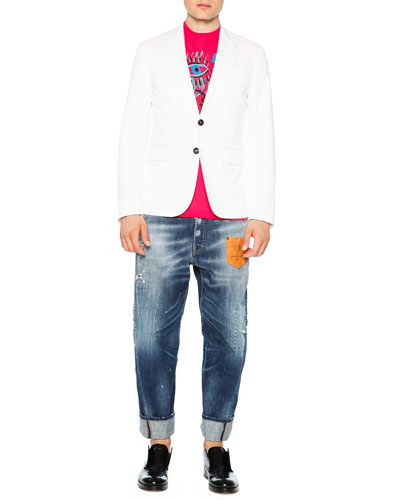 Cotton Stretch Two-Button Blazer, Graffiti-Print Graphic Tee & Workwear Jeans with Leather