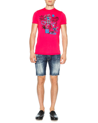 Graffiti-Print Graphic Tee & Distressed Denim Shorts