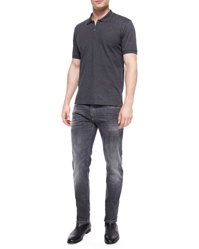 Tipped Short-Sleeve Polo Shirt & Stretch Washed Denim Jeans