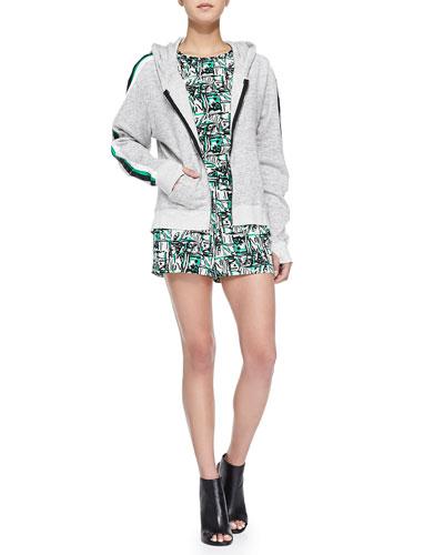 Cutout-Back Hoodie & Printed Cap-Sleeve Jumpsuit