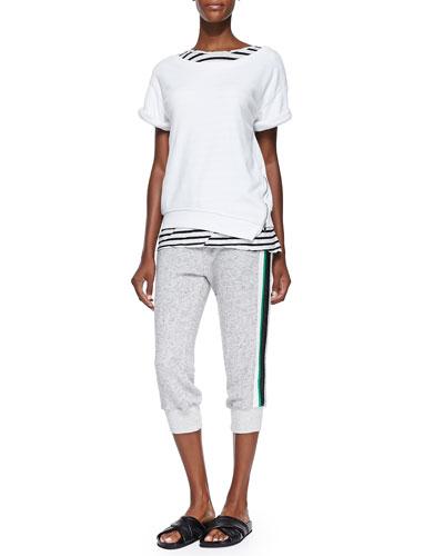 Short-Sleeve Side-Zip Sweatshirt, Striped Torqued-Seam Muscle Tee & Cropped Skinny Sweatpants