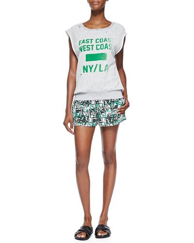 East Coast/West Coast Sweatshirt & Printed Elastic-Waist Shorts