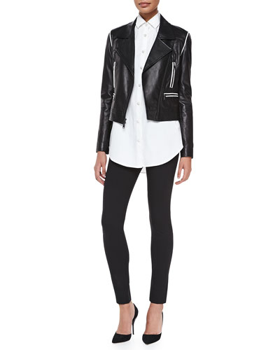 Cropped Leather Zip Moto Jacket, Long-Sleeve Oversized Button-Through Shirt & Pull-On Leggings with Double Zips