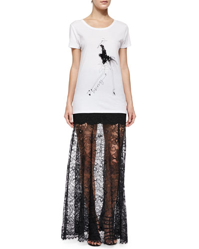 Party Girl Tee W/ Feathers & Mini Skirt W/ Long Lace Overlay