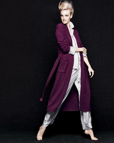 Neiman Marcus Cashmere Long Robe, Monogrammed Long Robe & Polka-Dot Silk Pajamas