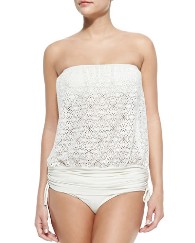 Crochet Banded-Hem Top & Assorted Swim Bottoms