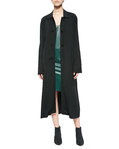 Patch-Sleeve Tech Trench Coat & Scoop-Neck Leather Dress
