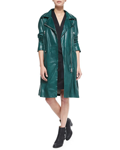 Fit & Flare Leather Trenchcoat & Cap-Sleeve Dress with Large Pocket