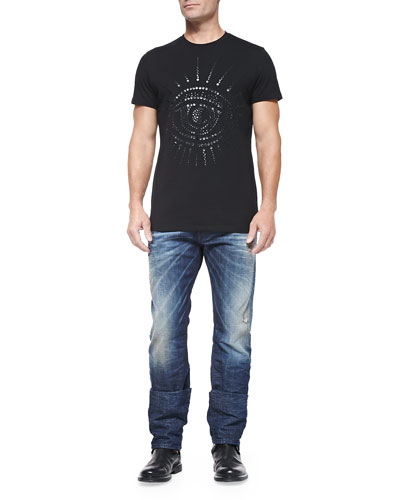 Crewneck Tee with Crystal Eye & Buster 837A Relaxed Distressed Jeans