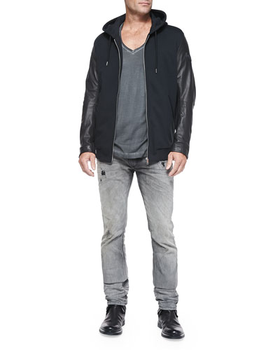 Zip-Front Hoodie W/ Leather Sleeves, Pigment Dyed V-Neck Tee & Thavar 837E Distressed Slim-Leg Jeans
