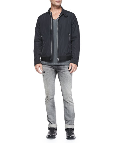 Heavy Tech-Fabric Jacket & Thavar 837E Distressed Slim-Leg Jeans