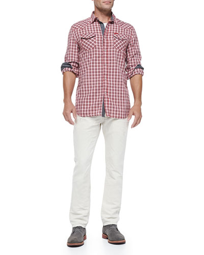 Check Shirt W/ Contrast Placket & Cuffs & Thavar 836L Distressed Slim-Leg Jeans