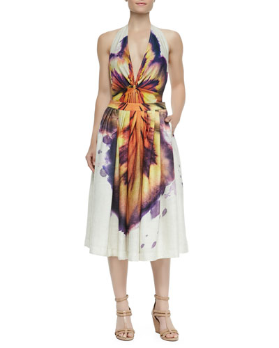 Runway Deep-V Large Hibiscus-Print Maillot & Runway Pleated Large Hibiscus-Print Skirt