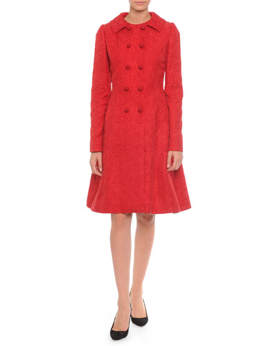 Floral-Jacquard Double-Breasted Jacket & Fit-And-Flare Dress, Red