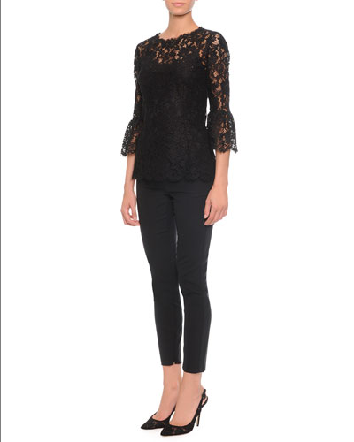 Floral-Lace Bell-Cuff Top & High-Waisted Stretch-Wool Pants